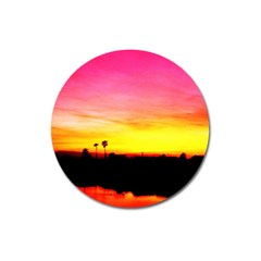 Pink Sunset Large Sticker Magnet (round) by tammystotesandtreasures