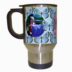 Blue Butterfly Travel Mug By Kim Blair   Travel Mug (white)   Vkef03bb84bq   Www Artscow Com Left