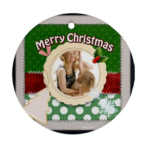Merry Christmas By Joely   Ornament (round)   7un69d6nxr8j   Www Artscow Com Front