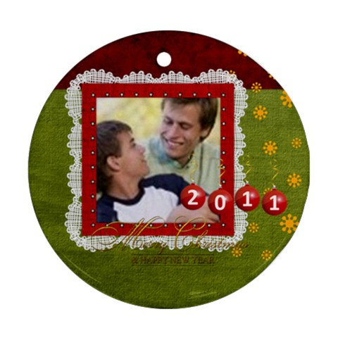 Merry Christmas By Joely   Ornament (round)   Pmgbnp6qoi79   Www Artscow Com Front