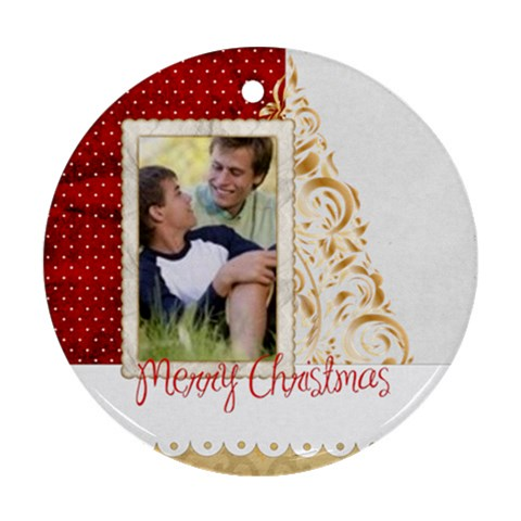 Merry Christmas By Joely   Ornament (round)   2aoneytctaoi   Www Artscow Com Front