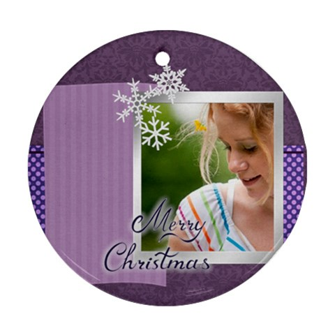Merry Christmas By Joely   Ornament (round)   1dr9rc7x0n6i   Www Artscow Com Front
