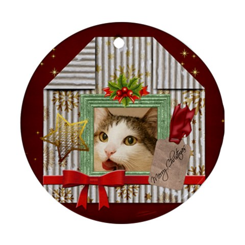 Merry Christmas By Joely   Ornament (round)   G81enkvg43dy   Www Artscow Com Front