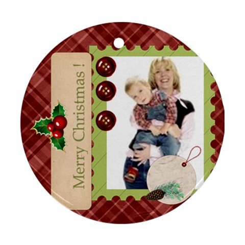 Merry Christmas By Joely   Ornament (round)   5tuskab9ko9z   Www Artscow Com Front