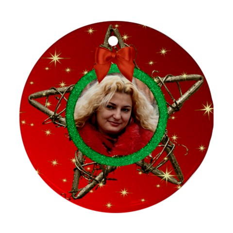 My Star Round Ornament (red) By Deborah   Ornament (round)   Wvipci3cxi1s   Www Artscow Com Front