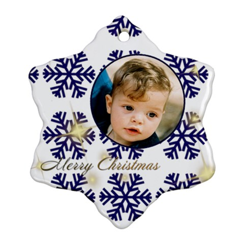 Blue Snowflake Ornament By Deborah   Ornament (snowflake)   G3boqzx47cua   Www Artscow Com Front