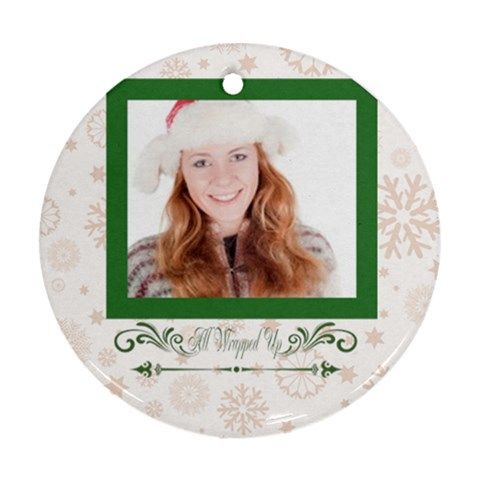 Xmas Gift By May   Ornament (round)   Bc0vbv31im8i   Www Artscow Com Front