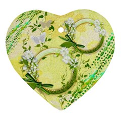 Yellow Spring Flower 2 Side Heart Ornament By Ellan   Heart Ornament (two Sides)   4bwchqt0eo8m   Www Artscow Com Front