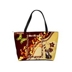 Brown And Tan Butterfly Shoulder Handbag By Kim Blair   Classic Shoulder Handbag   Cun2l58ma9g2   Www Artscow Com Back