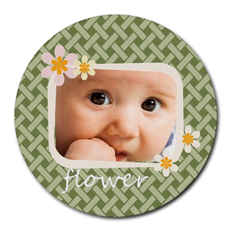Flower  By Joely   Collage Round Mousepad   Gbx36geivxnq   Www Artscow Com 8 x8 Round Mousepad - 1