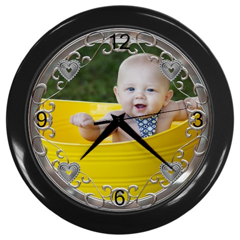 Fancy Chrome Heart Black Clock By Lil    Wall Clock (black)   Dwomup0br87f   Www Artscow Com Front