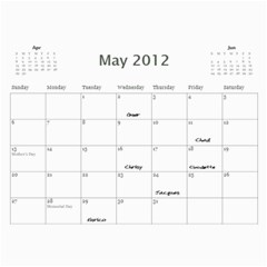 Dads Calender By Lise   Wall Calendar 11  X 8 5  (12 Months)   Wc6xf6iclwlp   Www Artscow Com May 2012