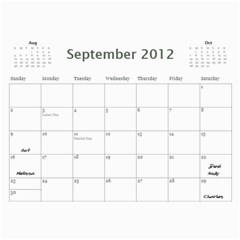 Dads Calender By Lise   Wall Calendar 11  X 8 5  (12 Months)   Wc6xf6iclwlp   Www Artscow Com Sep 2012