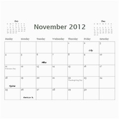 Dads Calender By Lise   Wall Calendar 11  X 8 5  (12 Months)   Wc6xf6iclwlp   Www Artscow Com Nov 2012