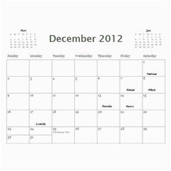 Dads Calender By Lise   Wall Calendar 11  X 8 5  (12 Months)   Wc6xf6iclwlp   Www Artscow Com Dec 2012