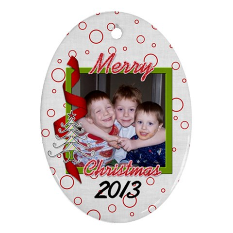 Oval Christmas Ornament 2011 B By Martha Meier   Ornament (oval)   Ha2s48h3q43b   Www Artscow Com Front