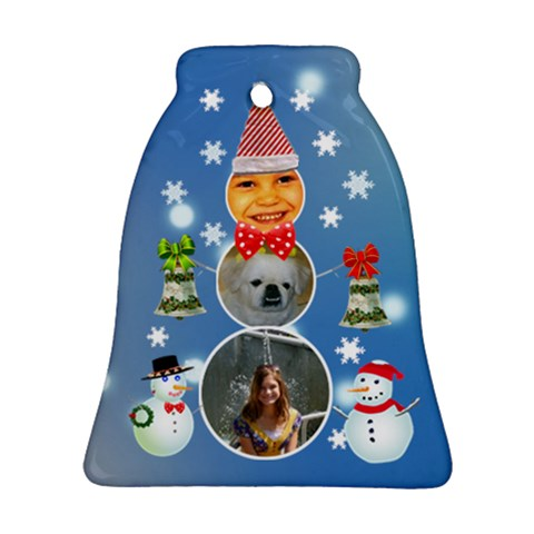 Snowman Frame Bell Ornament By Kim Blair   Ornament (bell)   Nq3w8so0stdn   Www Artscow Com Front