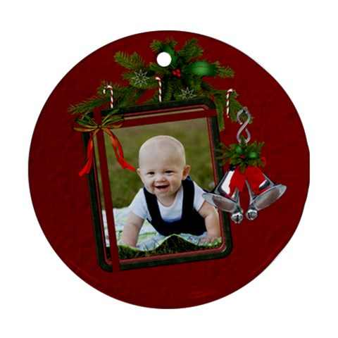 Christmas Bells Round Ornament By Lil    Ornament (round)   73l3cg9hce61   Www Artscow Com Front