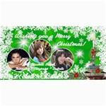 Christmas Photo Card Green burst - 4  x 8  Photo Cards