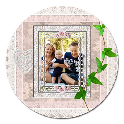 Pretty Lace 5  Magnet By Lil    Magnet 5  (round)   A2mjoscwlgx5   Www Artscow Com Front