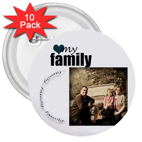 Family Button By Amanda Bunn   3  Button (10 Pack)   7azmvd3q4vkp   Www Artscow Com Front