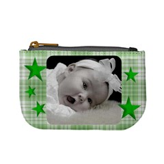 Mini Coin Purse Green Stars By Laurrie   Mini Coin Purse   G67wp6axahzf   Www Artscow Com Front