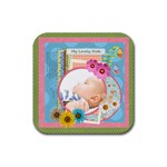 flower gift - Rubber Square Coaster (4 pack)
