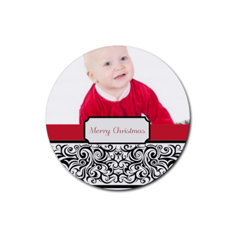 Merry Christmas By May   Rubber Coaster (round)   Xpeycv7fnm4j   Www Artscow Com Front