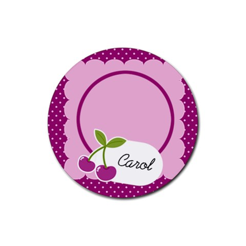 Cherry Round Coaster 01 By Carol   Rubber Coaster (round)   Gzfg2al1o2ad   Www Artscow Com Front