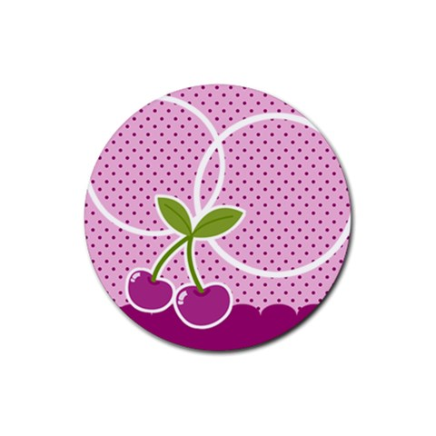 Cherry Round Coaster 04 By Carol   Rubber Coaster (round)   Vqvhesn6pug2   Www Artscow Com Front
