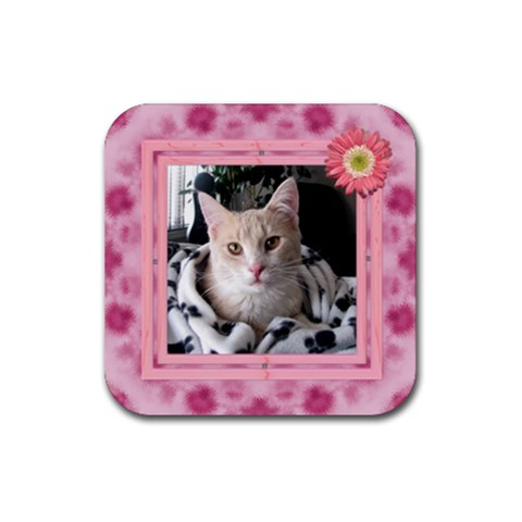 Pretty Pink Square Coaster By Lil    Rubber Coaster (square)   Gn0785j3fdz3   Www Artscow Com Front