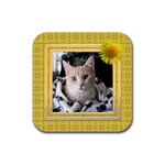 Pretty Yellow Square Coaster - Rubber Coaster (Square)