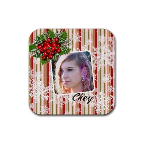 Coaster Multi Snowflakes Berries By Laurrie   Rubber Coaster (square)   Nt3ku16wky5d   Www Artscow Com Front