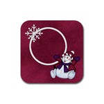5 Little Snowmen Coaster 1 - Rubber Coaster (Square)