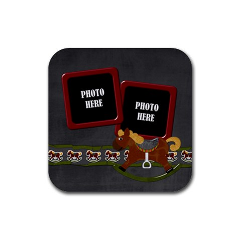 My Christmas Pony Coaster 2 By Lisa Minor   Rubber Coaster (square)   J14c9trcs0mn   Www Artscow Com Front