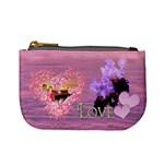 Spring purple floral heart coin purse - Mini Coin Purse