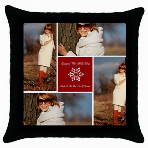 Christmas By May   Throw Pillow Case (black)   Fu66kiz8fmu6   Www Artscow Com Front