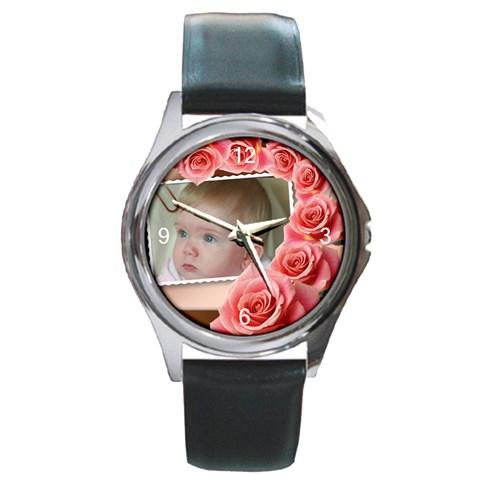 My Pink Rose Round Watch By Deborah   Round Metal Watch   Nfynit3xf4af   Www Artscow Com Front