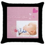 i love you - Throw Pillow Case (Black)