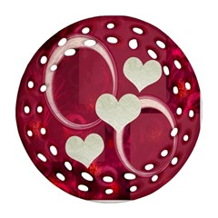 I Heart You Hot Pink Double Sided Filigree Ornament By Ellan   Round Filigree Ornament (two Sides)   Aixp0hdo80iv   Www Artscow Com Front
