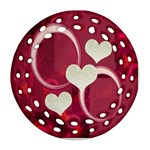 I Heart You hot pink double sided Filigree ornament - Round Filigree Ornament (Two Sides)