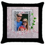 Pretty Pink Lace Throw Pillow Case - Throw Pillow Case (Black)