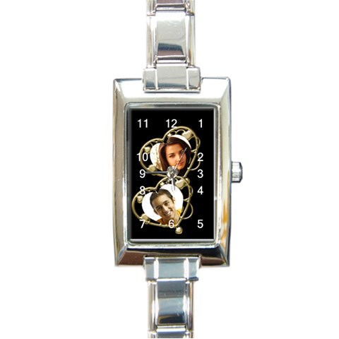 Two Heart Charm Watch By Deborah   Rectangle Italian Charm Watch   6a91ncrmxyt9   Www Artscow Com Front