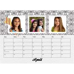 Black & White With Flowers, Desktop Calendar 8 5x6 By Mikki   Desktop Calendar 8 5  X 6    4yafs4j4lzeg   Www Artscow Com Apr 2018