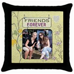 Friends Forever Throw Pillow Case - Throw Pillow Case (Black)
