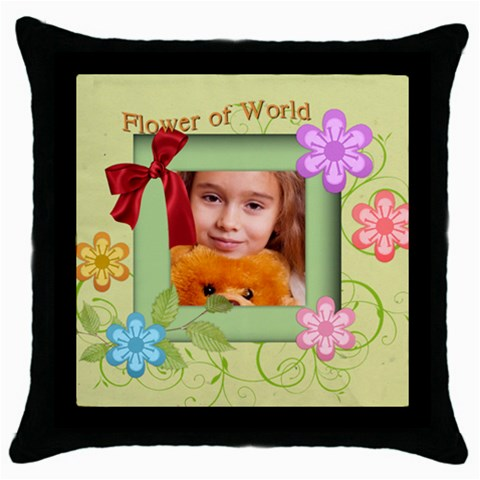 Flower By Joely   Throw Pillow Case (black)   Bgdkdktzqvek   Www Artscow Com Front