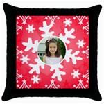 snowflake pillow - Throw Pillow Case (Black)