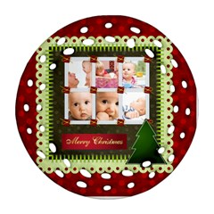 Christmas By Joely   Round Filigree Ornament (two Sides)   Nt4tclfc7o7q   Www Artscow Com Front
