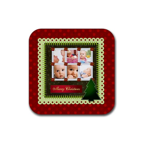Christmas By Joely   Rubber Square Coaster (4 Pack)   M9mzn6mrr4rf   Www Artscow Com Front