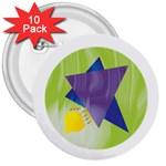 Jewish Star Menora 3  Button (10 pack)